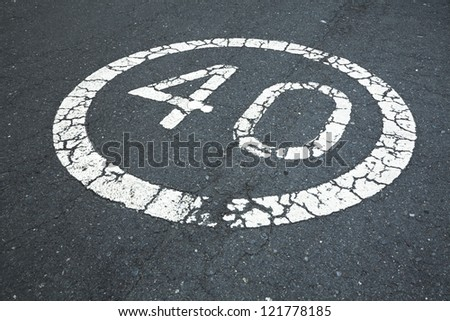 40 sign on the road - stock photo