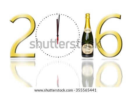2016 sign with a clock face and champagne bottle with a reflection on a pure white background - stock photo