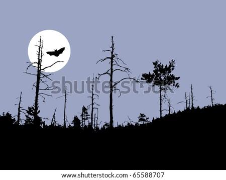 silhouette bat on moon background - stock photo