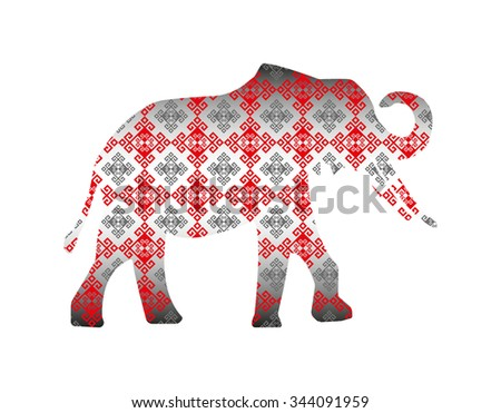 Silhouette of elephant with glossy pattern textile. - stock photo