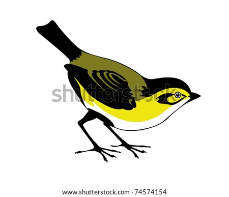 silhouette of the bird on white background - stock photo
