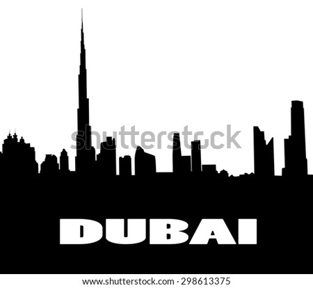 silhouette of the city  Dubai. UAE - stock photo