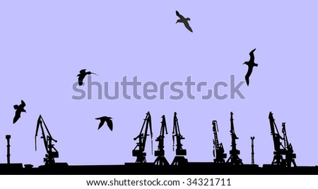 silhouette shipyard on yellow background - stock photo