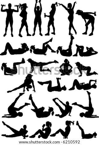 25 silhouettes of fitness girl illustration