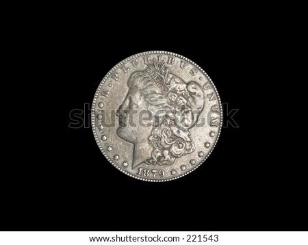 1879 Silver Dollar on Black background - stock photo