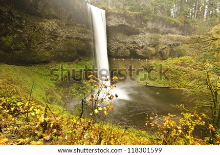 Silver Falls Sate Park at Fall Color - stock photo