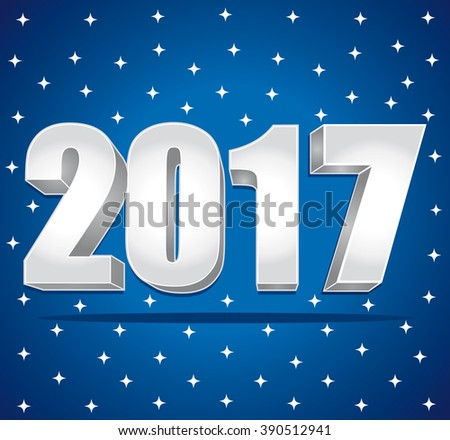 2017 Silver numbers on a blue starry background. Happy New Year. greeting card. - stock photo