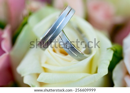 silver Wedding rings on the bouquet - detail - stock photo