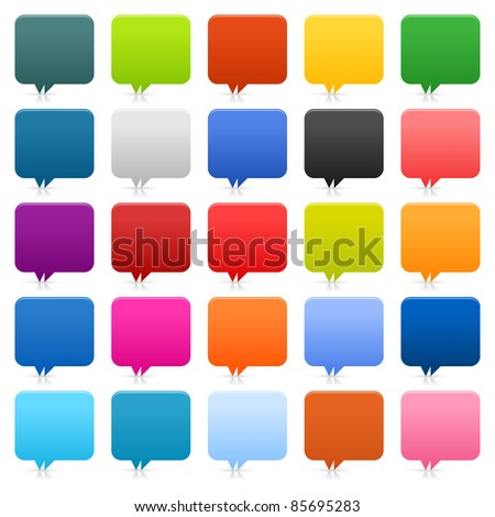 25 simple speech bubble web 2.0 buttons. Colored rounded square shapes with shadow and reflection on white background. Bitmap copy my vector ID: 66150784