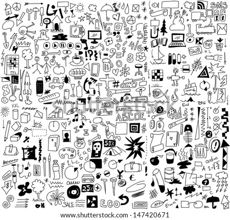 500 simplified design elements doodle icons, hand drawn background, texture and 	 pattern (set 1)  - stock photo