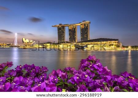 SINGAPORE - JUNE 25, 2015: Marina Bay Sands hotel at Morning Singapore. - stock photo
