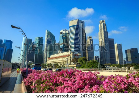 Singapore Marina Bay and city skyline