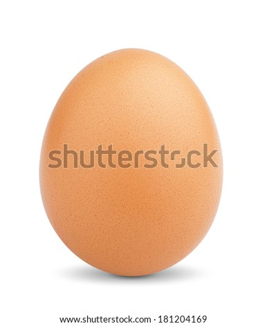 Single brown chicken egg isolated on white background. - stock photo