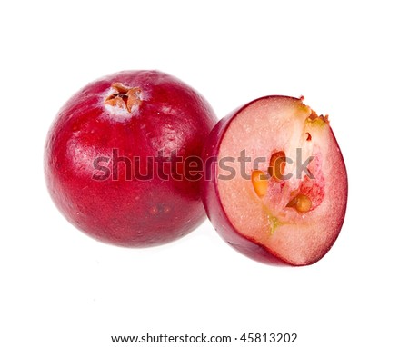 Single cranberry close up macro shot. isolated on white background
