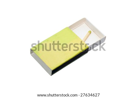 single match in a box of matches - stock photo