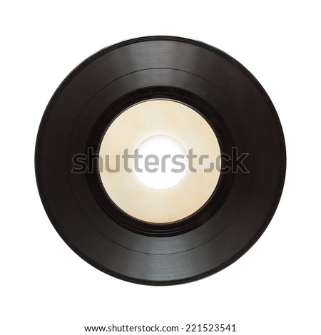 single record isolated on white - stock photo