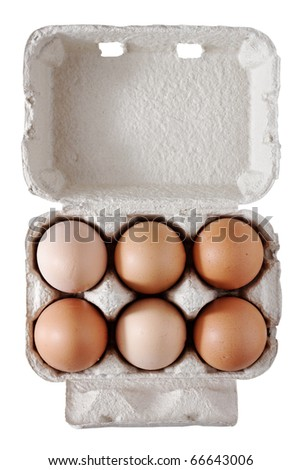 Six eggs. - stock photo