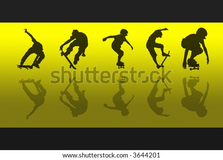 5 skateboarding silhouettes and reflections against a yellow gradient background