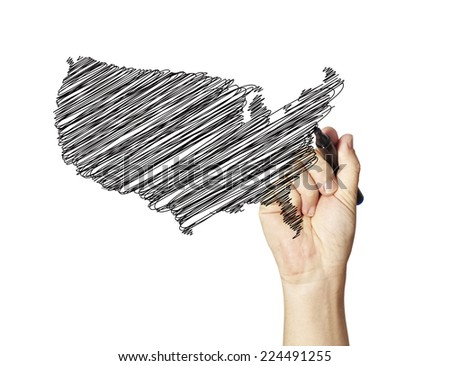 sketch of USA map  - stock photo