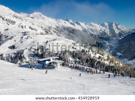 Skiers on the slope of famous Austrian resort  St. Anton.