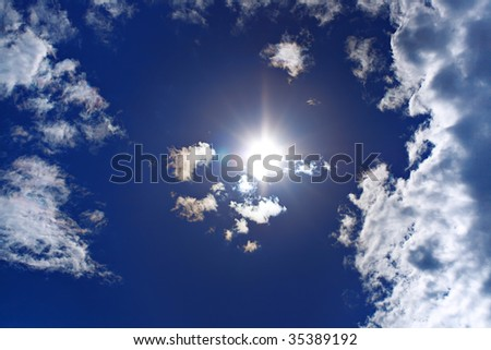 sky and sun background - stock photo