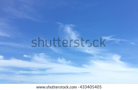 Sky background with the fluffy white clouds, White clouds in sky, blue sky background with tiny clouds - stock photo