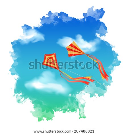 Sky landscape with flying kite, white clouds inside watercolor spot