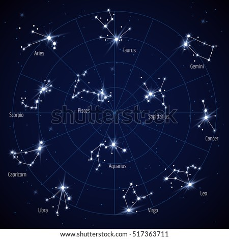 sky star map with constellations stars. Set of constellation in space night illustration