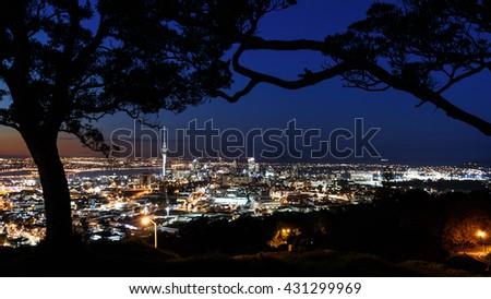 skyline Auckland from Mount Eden - stock photo