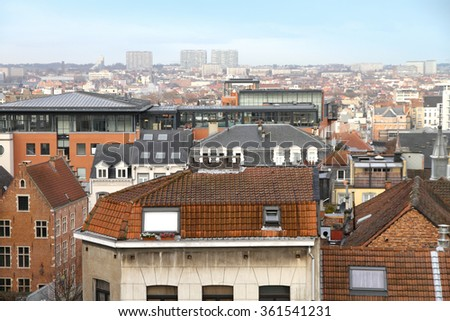 - skyline of Brussels, Belgium, Europe - stock photo