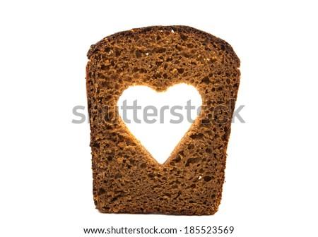 slice of black rye bread isolated on white background - stock photo