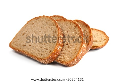 slices of whole wheat bread   isolated on white background - stock photo
