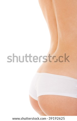 Slim woman in lingerie on the white background - stock photo