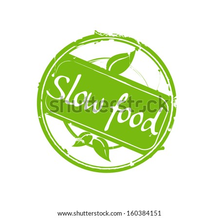 """""""Slow food"""" green round rubber stamp vector - stock photo"""