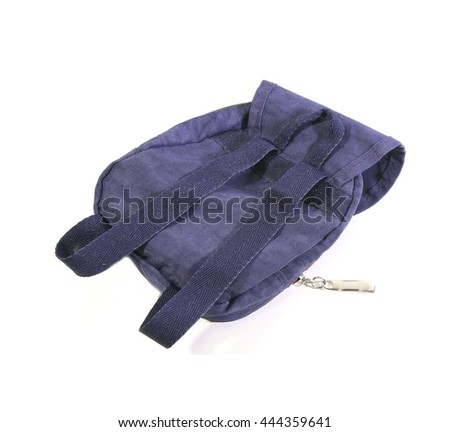 small Backpack intimate friend during the trip on white background - stock photo