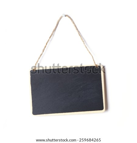 small blank chalkboard sign with piece of string hanging on nail                              - stock photo