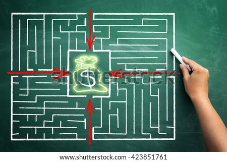 Smart business leads to wealth and success - concept with maze and arrows pointing to bag with money from different positions