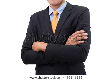 smart business man with arms crossed isolated on white background.
