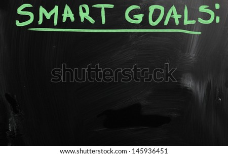 """Smart goals"" handwritten with white chalk on a blackboard - stock photo"