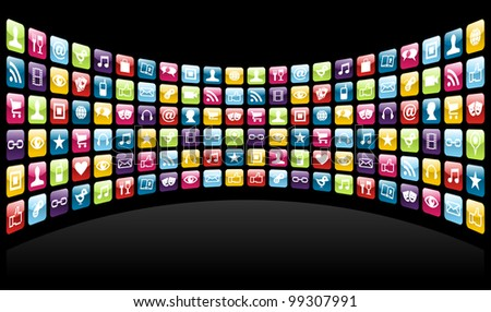 Smartphone cloud app icon set background. - stock photo