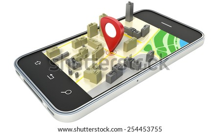 smartphone with wireless navigator map. GPS satellite navigation, travel, tourism
