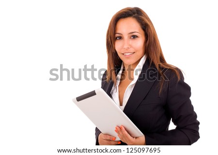 Smiling business woman with tablet computer on white background - stock photo