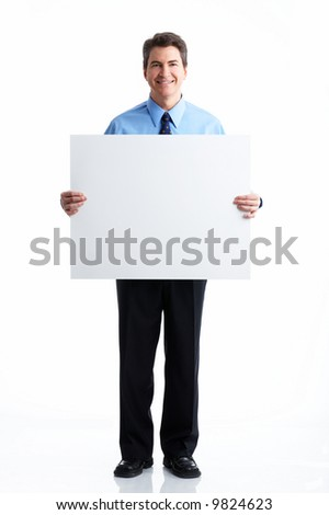 Smiling businessman. Isolated over white background