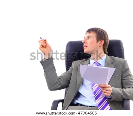 Smiling businessman sitting on chair, isolated on white.