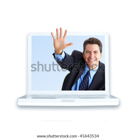 Smiling handsome businessman and laptop. Isolated over white background - stock photo