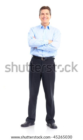 Smiling handsome businessman. Isolated over white background - stock photo