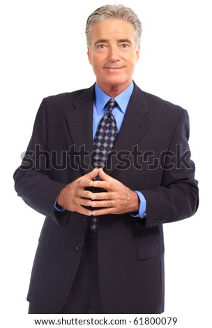 Smiling mature  businessman. Isolated over white background