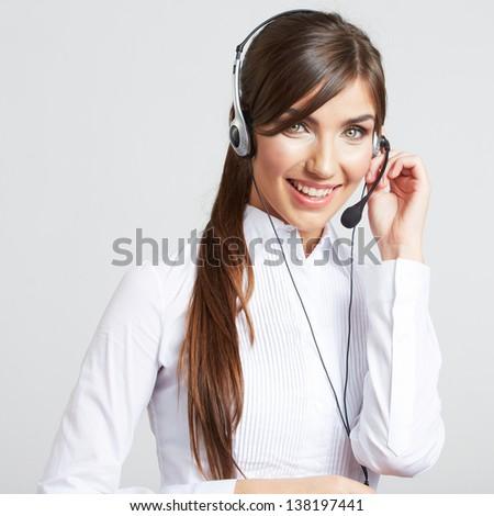 smiling operator woman, isolated on white background - stock photo