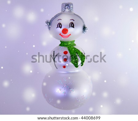 smiling snowman ornament - stock photo