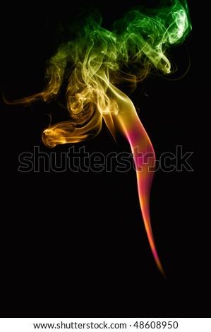 Smoke isolated on black background - stock photo